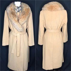 Vintage Fleurette Camel Hair & Fur Wrap Coat ILGWU